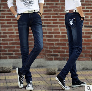 2015 men's fashion character jeans men waist blue denim slim liesure pants man feet long trousers yl062 - dingding trading store