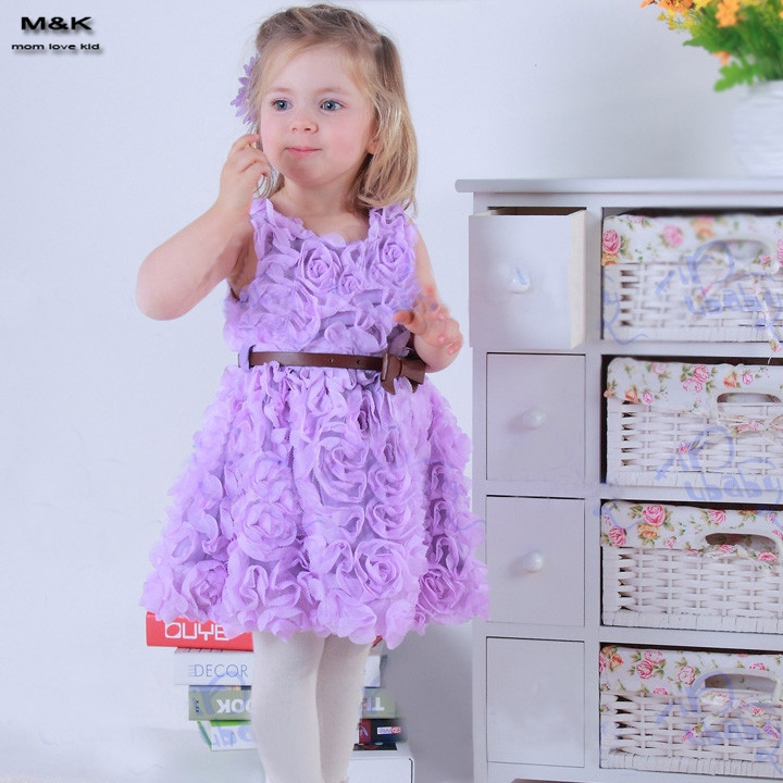 2016 Princess Girl Dress Sleeveless Rose Dress Girls Toddler 3D Flower Tutu Layered Princess Party Bow Kids Formal Dress 24(China (Mainland))
