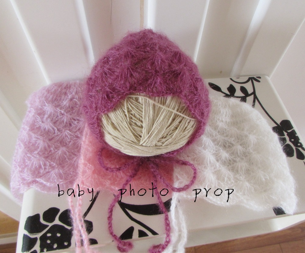 Hand Knit Newborn Bonnet Mohair Baby Hat Baby Photography Props Baby Gift Newborn Photo Props(China (Mainland))