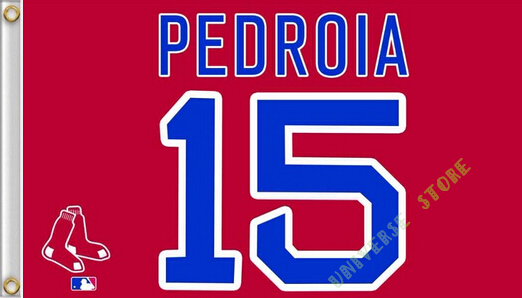 3X5FT Boston Red Sox Flag PEDROIA 15 banner 100D free shipping(China (Mainland))