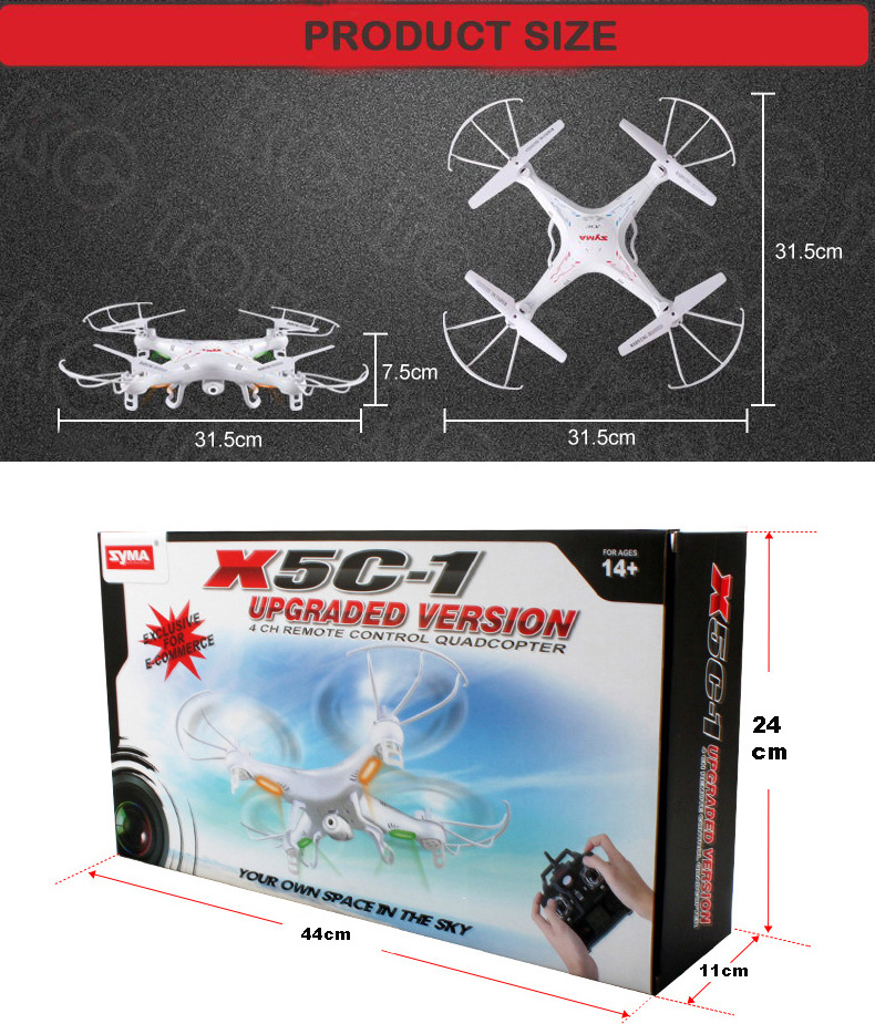 Free shipping Syma X5C x5c-1 Quadrocopter 2.4G 6 Axis GYRO HD Camera RC Quadcopter RTF Helicopter RC Drone with 2.0MP Camera