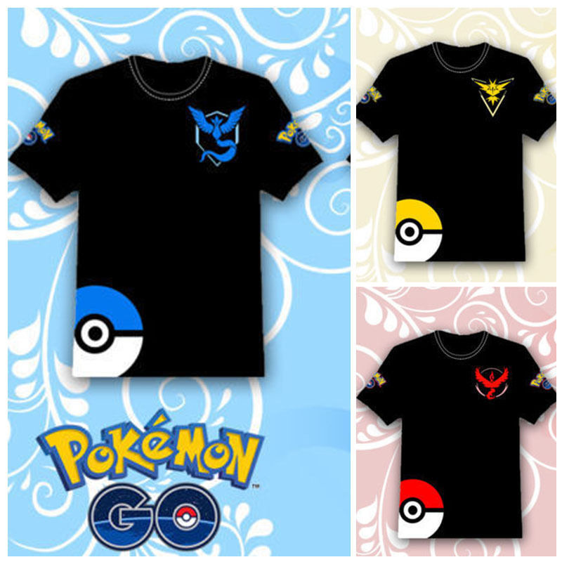 Hot 2016 POKEMON GO Shirt Team INSTINCT Mystic Valor Funny t shirt Mens T-shirts Cotton Tee Tops Casual Brand Clothing 8109(China (Mainland))
