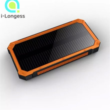 Powercore10000mah Portable Waterproof Solar Power Bank +LED light External Back up battery Charger Power Bank for Cell phone(China (Mainland))