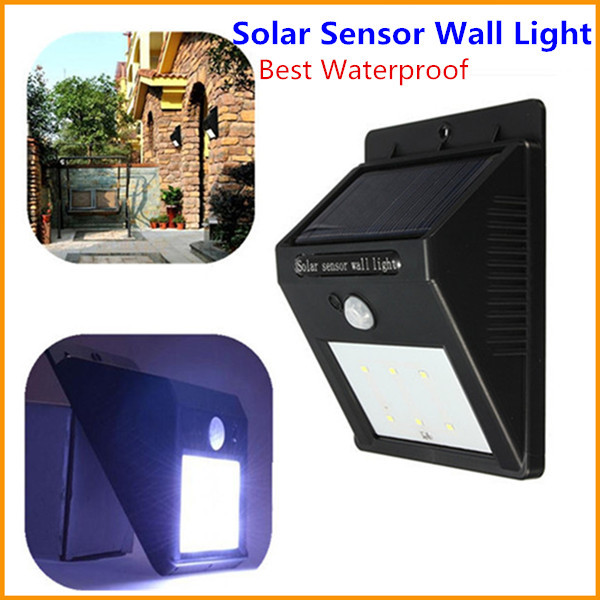 Energy Saving Waterproof Solar Power 6 LED PIR Motion Sensor Light Outdoor Garden Wall Lights Landscape Yard Lamp Free Shipping(China (Mainland))