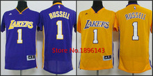 2015 LOS ANGELES LAKERS jersey #1 D Angelo Russell Jersey, Cheap NBA basketball Jerseys New Rev Embroidery Logo ,Free Shipping(China (Mainland))