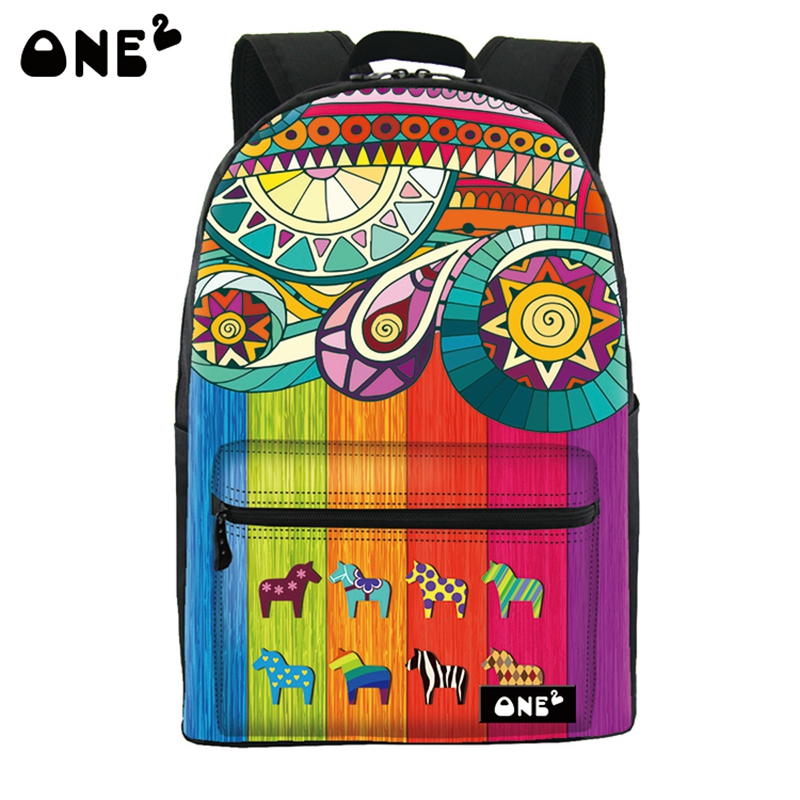 ONE2 Design 21L Fashion European Style flower women printing backpack canvas flower printed backpack bag for girl back to school(China (Mainland))