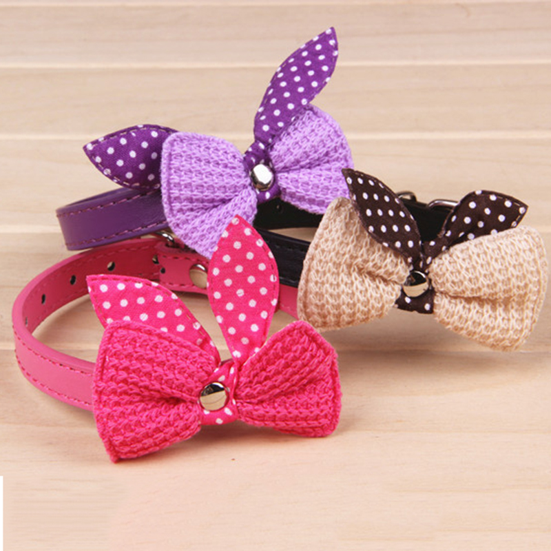Pet Products Adjustable Dog Collars Knit Bowknot Leather Dog Puppy Pet Collar...