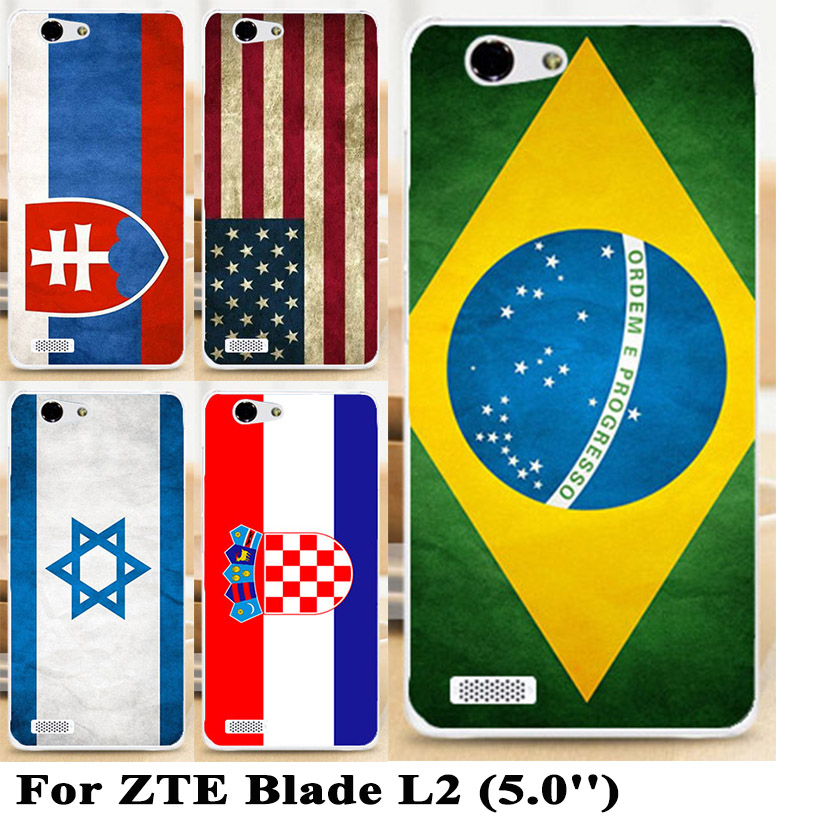 Hard Plastic national flags Case Cover for ZTE Blade L2 UK USA Spain France Back Cover For ZTE L2 Case Shell(China (Mainland))