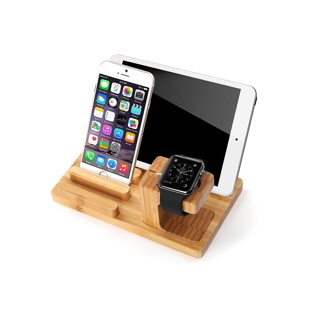 Lagute 3 in1 Natural Bamboo Wood Watch Stand Charging Dock Station Charger Holder for Apple Watch/for iPhone/for iPad(China (Mainland))
