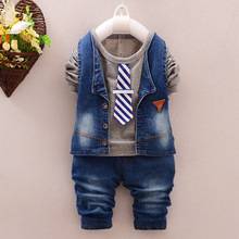 New 2016  Jean tide autumn Baby suit,  3 piece boys clothing set children  clothes 1-2-3-4(China (Mainland))