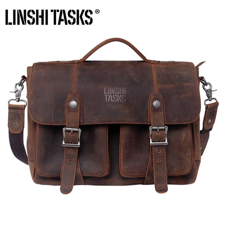 Patent Brand 100% Crazy Horse Genuine Leather Briefcase - HOT 2015 vintage laptop hand bag shoulder men messenger bags portfolio(China (Mainland))