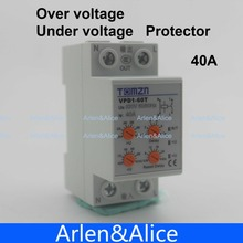 40A 220V  Din rail automatic reconnect over voltage and under voltage protection protective device relay with adjustable button(China (Mainland))