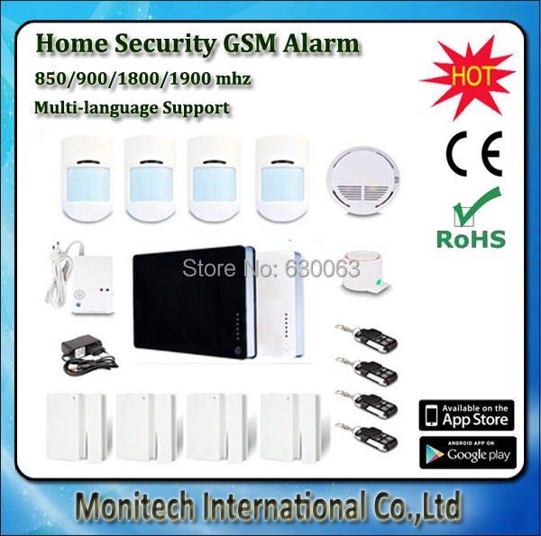 Large set GSM Home Security Alarm System IOS Android Apps Supported Smart Home Wireless Wired Burglar Built-in GSM antenna(China (Mainland))