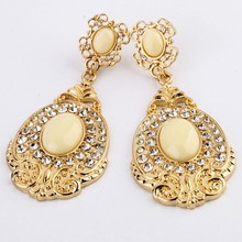 New Coming Water Drop Fashion Hanging Alloy Gold Color Earrings Factory Wholesale(China (Mainland))