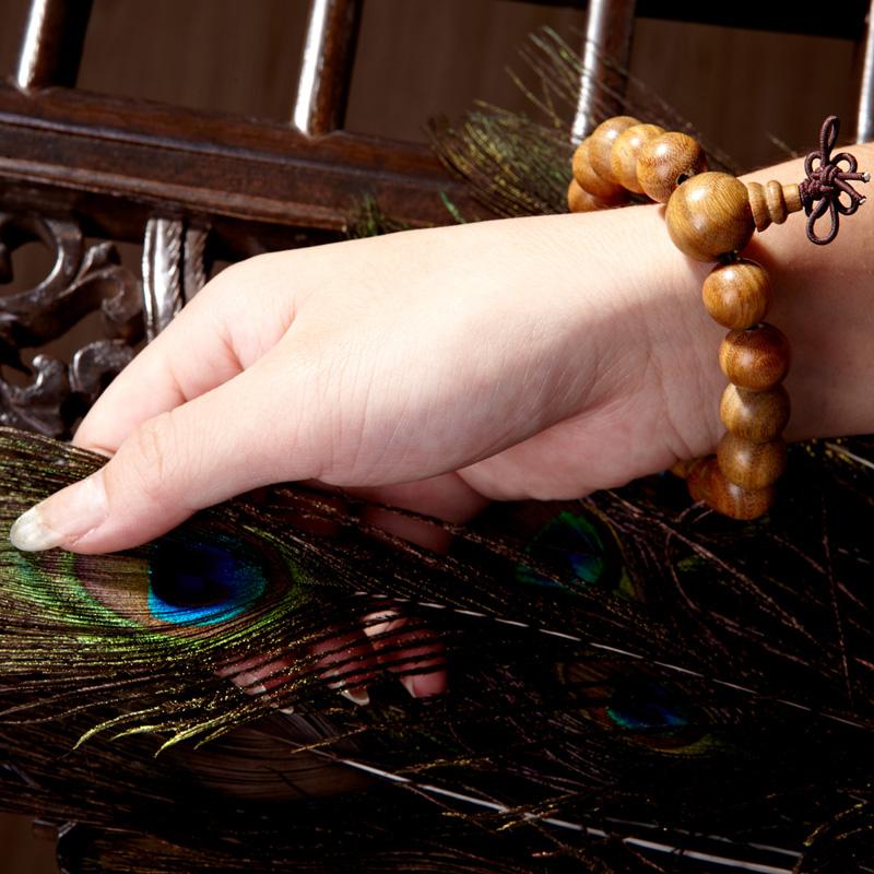 Natural green sandalwood beads bracelet chinese style bracelets accessories 12mm meditators rosary(China (Mainland))