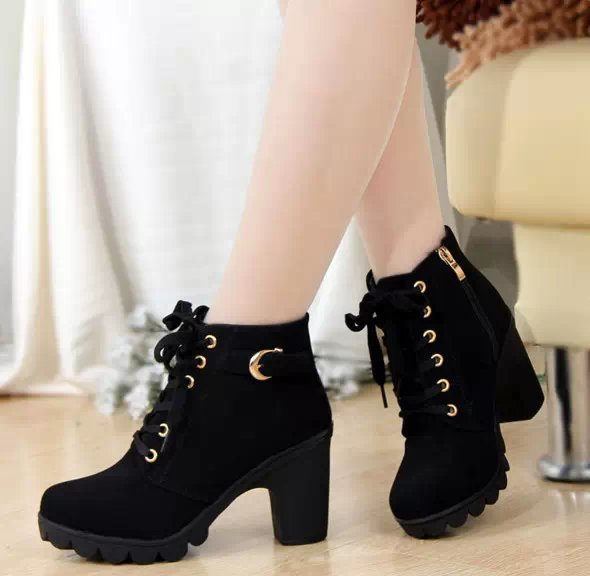 2015 high thick heel casual boots platform martin size 35-40 black/army green/brown color