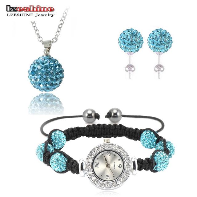 Crystal Shamballa Watch Bracelet/(85Pcs)Crystal Earrings/(85Pcs)Crystal Pendant Jewelry Set Mix Colors Options SHSTFmix2