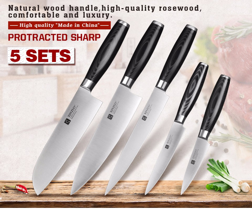Buy XINZUO 5 pcs kitchen knife set paring utility cleaver santoku Chef knife 3 layers 440C clad steel Kitchen Knife free shipping cheap