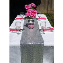 Silver Sequin Table Runner 30cm by 180cm