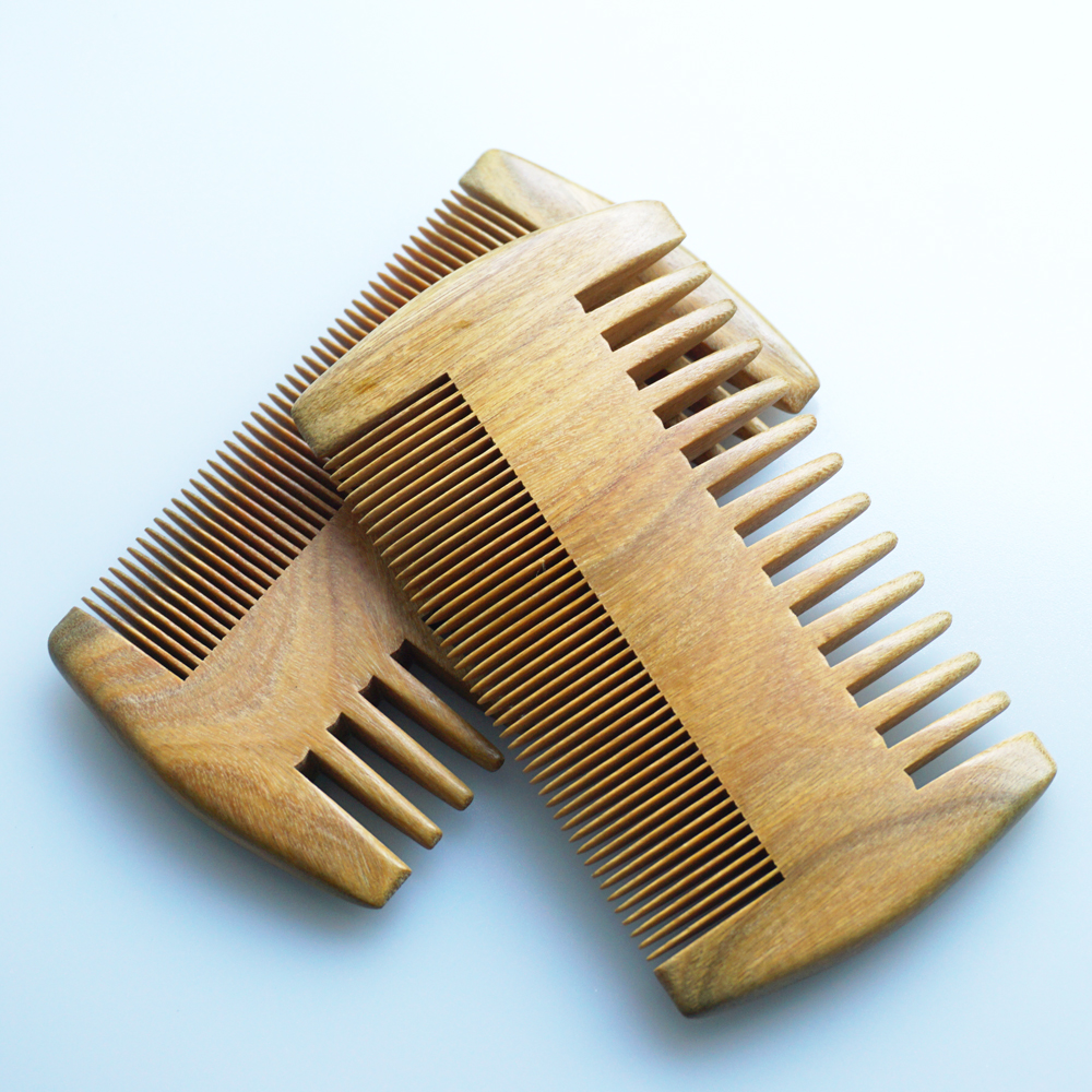 Wood Pocket Beard & Mustache Comb Double Side Fine Wide Tooth Hair Comb Natural Handmade Fragrant Green Sandalwood No Static(China (Mainland))