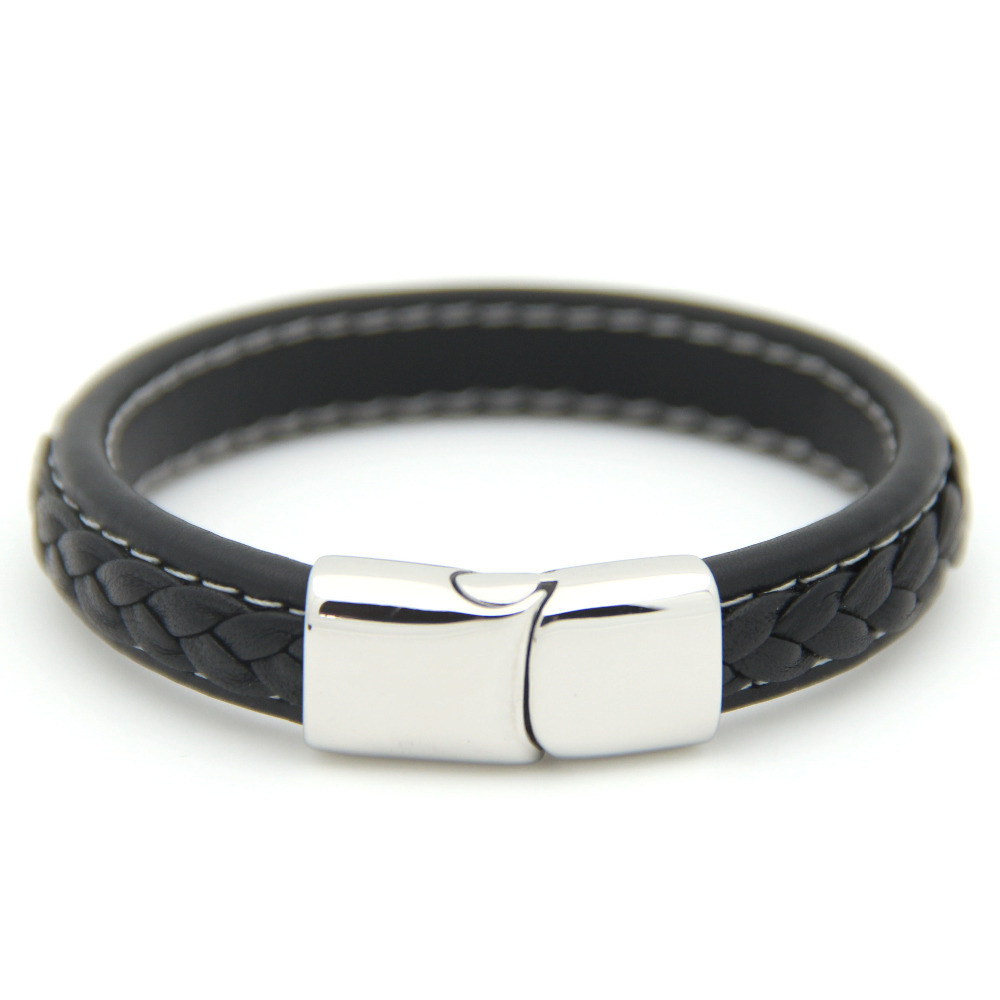 Stainless Steel Bracelets Leather Bangles Men Gift Black Genuine Leather Men s Bracelets Knitted Magnetic Clasp