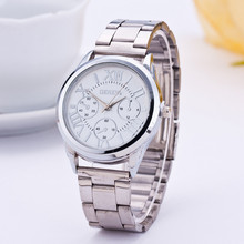 Hot Sale 2015 Luxury Brand Top Quality Women Quartz Watch Geneva Fashion Women Sliver Stailess Steel Roman Numerals Wristwatch