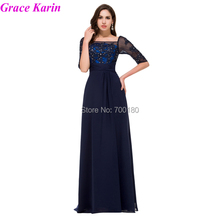 New Arrivals 2015 Elegant Long Evening Dress Half Sleeve Chiffon Women Formal Night Gown Navy Blue Prom Dresses 8919(China (Mainland))