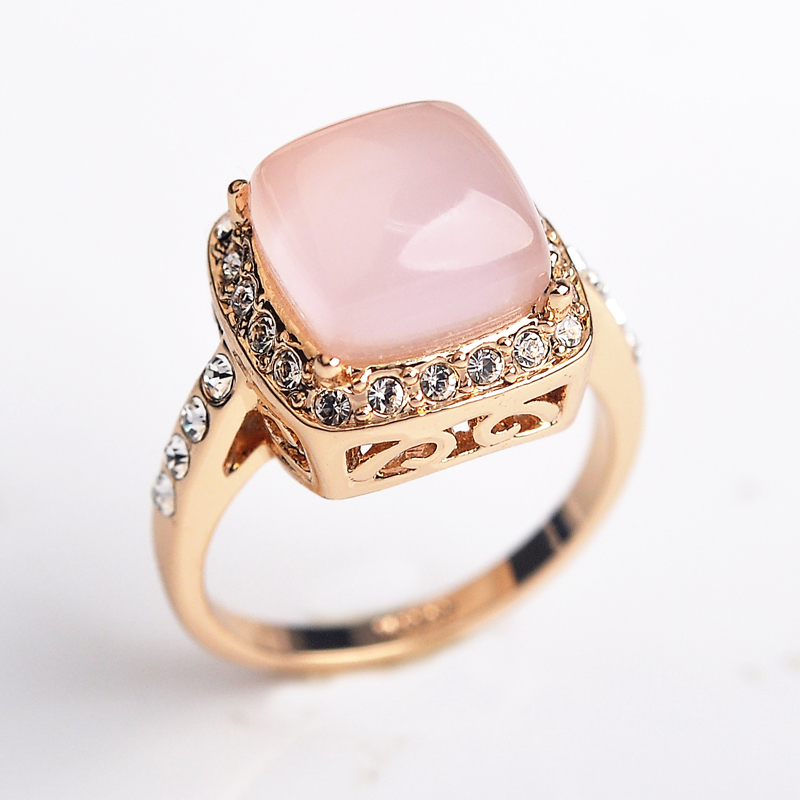 Luxury Square Opal wedding Rings for women CZ Diamond Brand rings female Rose