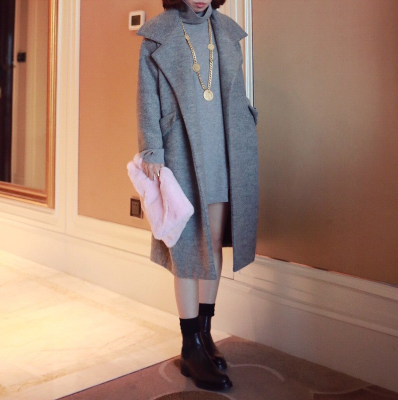 Korean Style 2016 New Elegant Women Autumn Winter Coat Pink/Grey OL Long Belted Wool Coat manteau femme Blends Jacket LJ3583
