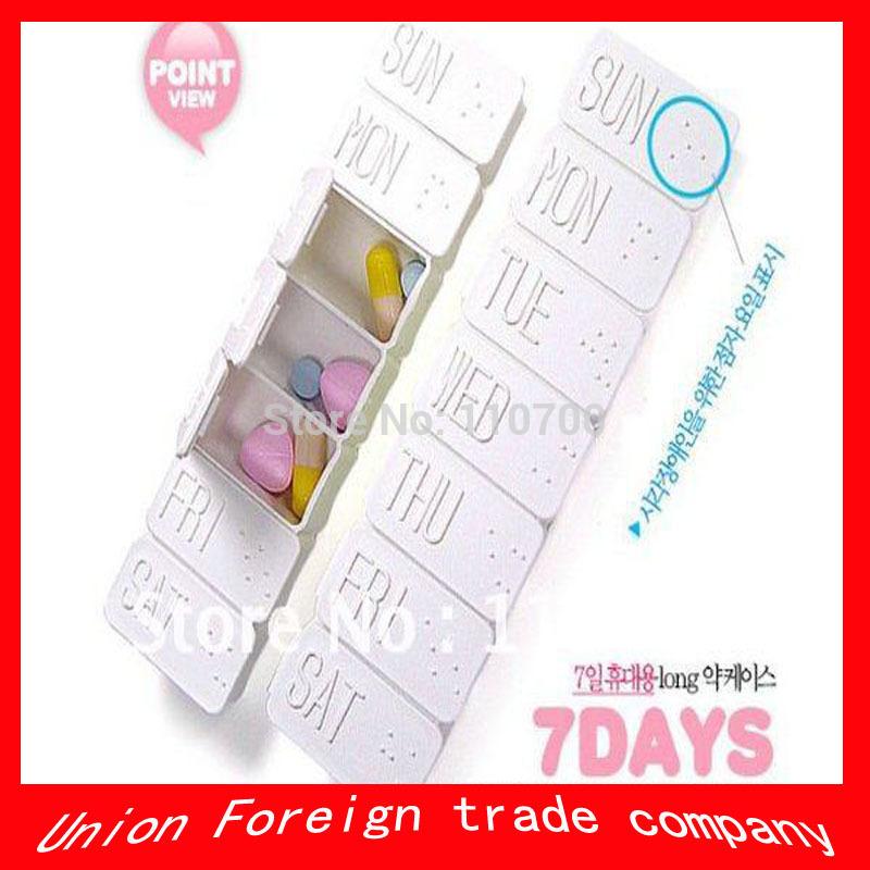 50pcs/lot free shipping Funyz 7 days daily pill case long drug case household medicine storage box home storage(China (Mainland))