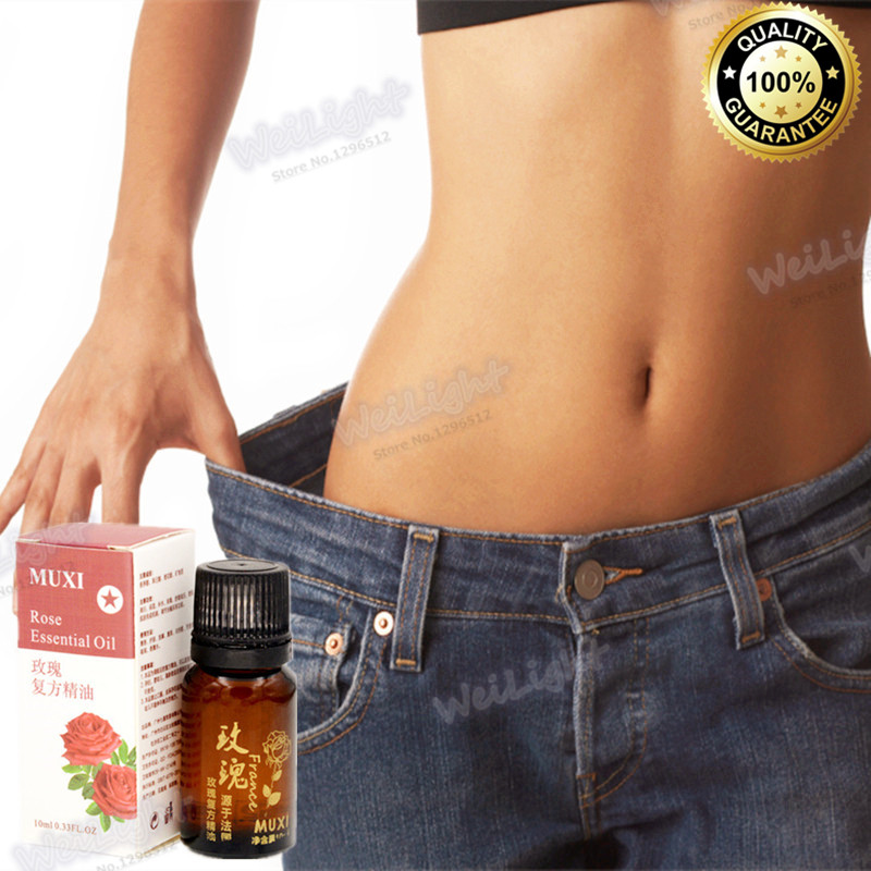 Hot sale Slimming Rose essential oil Slimming Navel Sticker Slim essential oil Weight Loss Burning Fat Body massage oil 1 bottle(China (Mainland))