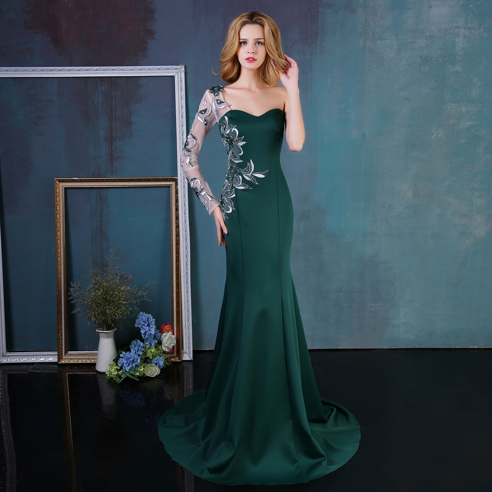 Arabic Style Evening Dresses Long Sleeves Mermaid Formal Party Gowns 2016 Dubai Kaftan Dresses For Muslim Women(China (Mainland))