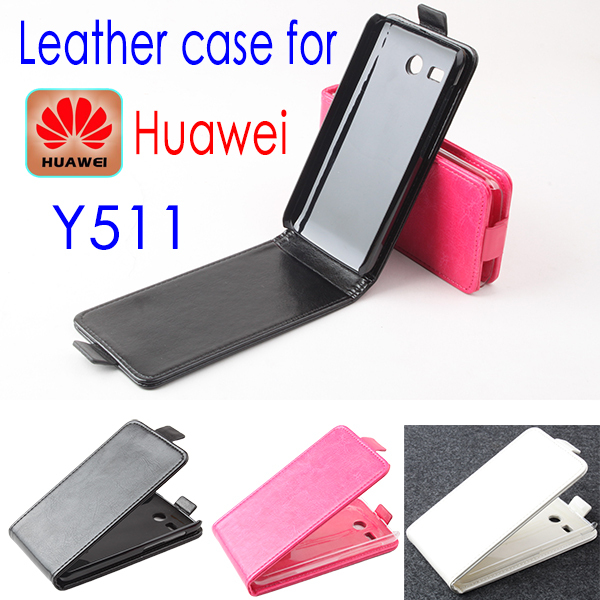 2014 Luxury Flip Genuine Leather Case Cover Huawei Y511,Original Mobile Phone Bag,Free Screen Protector/Black - MMZ Union Source store