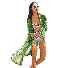 summer style 2015 Ladies' elegant Green leaves print long Kimonos outwear loose vintage bikini cover up output to beach wear(China (Mainland))