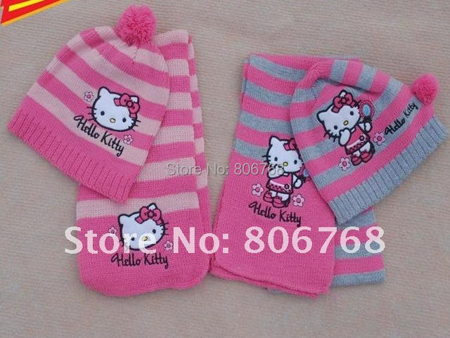 Christmas Gift  2015 girl fashion Cap Girls love hello kitty fashion scarf +hat knitting free shipping