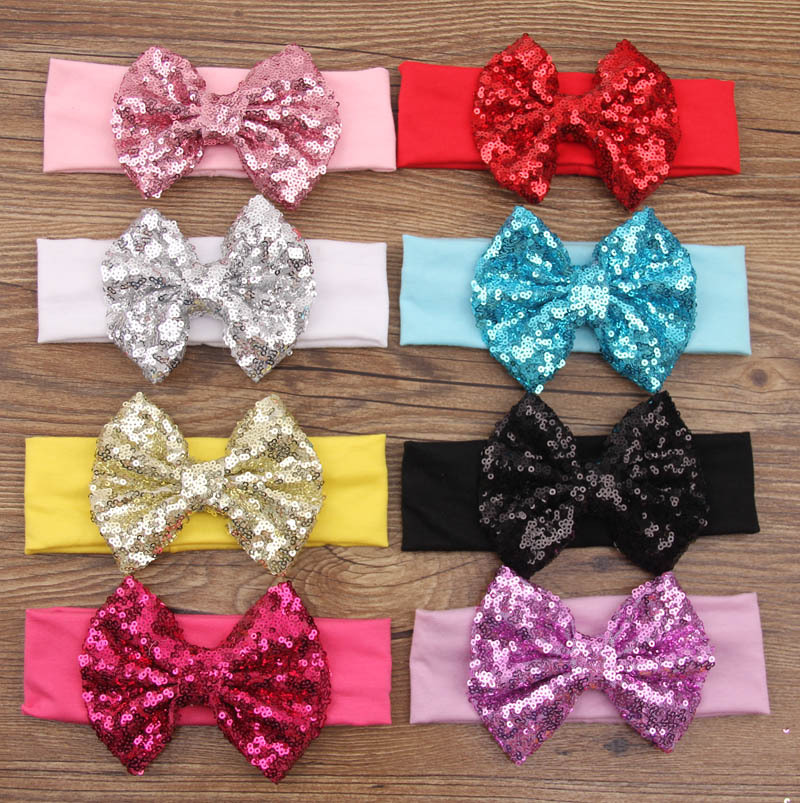 2015 New Fashion European Big Baby Hair Accessories Sequined Bow Christmas Child Headband Jewelry Wholesale