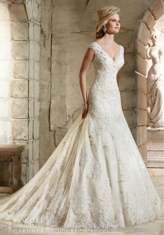 Elegant V Neck Vintage Lace Mermaid Wedding Dresses 2015 Romantic Bridal Gowns Robe De Mariee