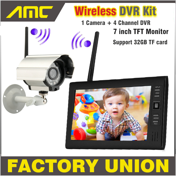 NEW 7 Inch Monitor Wireless CCTV Kit 2.4GHz 4CH Channel CCTV DVR 1PCS  Wireless Cameras Audio Night Vision Home Security System<br><br>Aliexpress