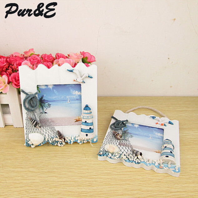 Fashion wood mediterranean style photo frame 6 inch hang creative office home oranments kids gifts HDC1221 - Pur&E crafts Co., Ltd. store