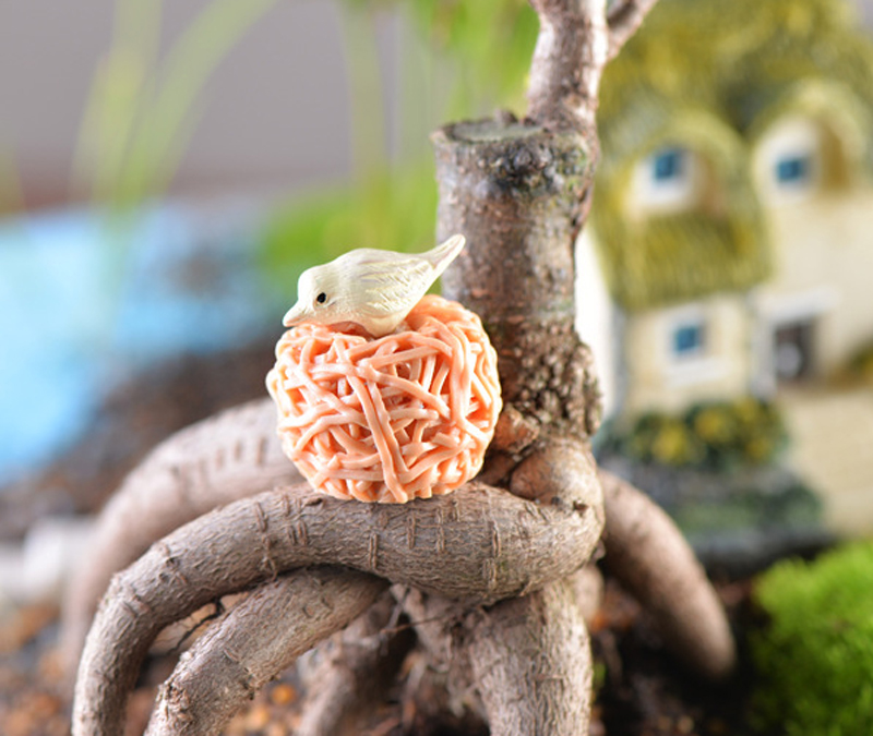 8pcs mini bird nest fairy garden gnomes birds miniature for Deco jardin miniature