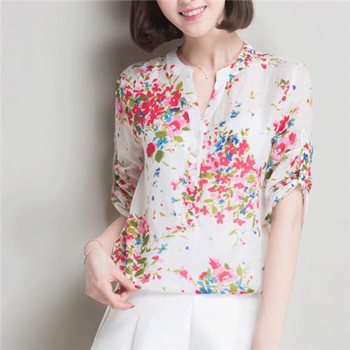 2015 Brand Blusas Three Quarter Sleeve Floral Silk Women Blouse Shirts Summer Tops Button Front Tunic V-Neck Casual Shirt #B171(China (Mainland))