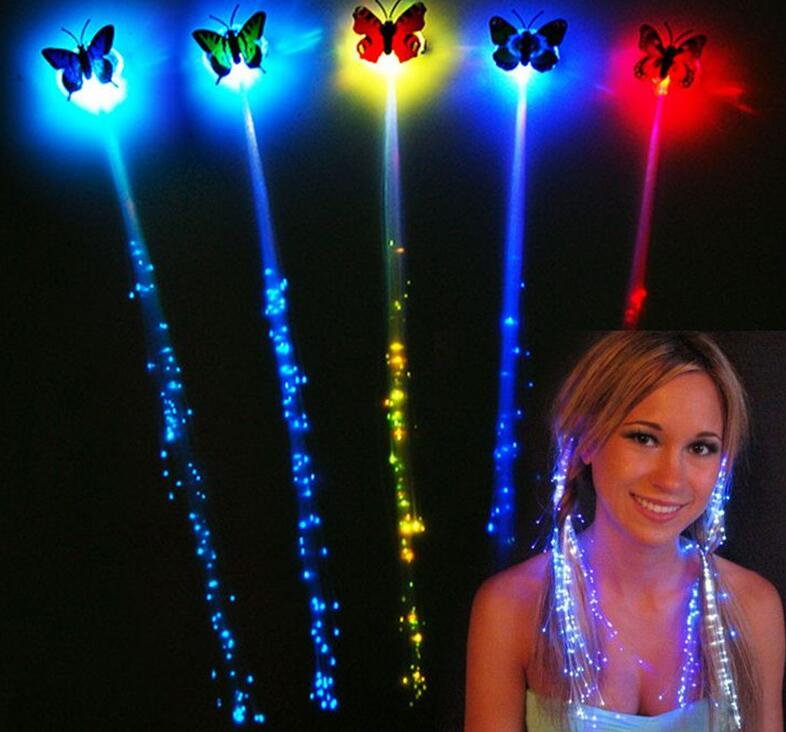 LED flash butterfly fiber braid party dance lighted up glow luminous hair extension rave halloween decor Christmas festive favor(China (Mainland))