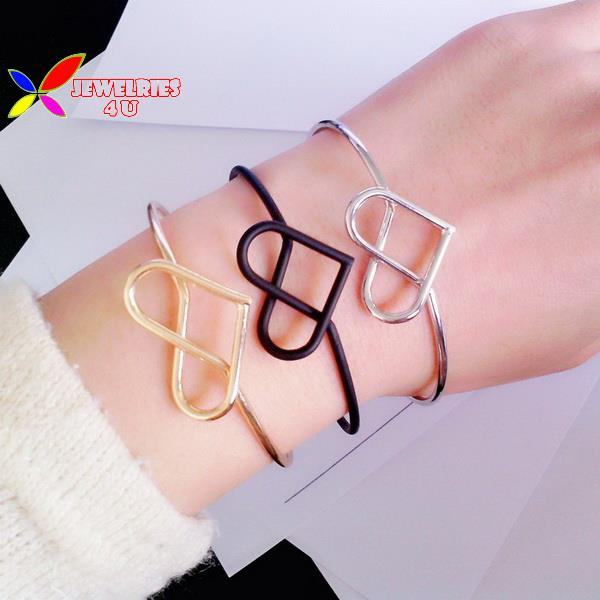 2015 new fashion hot gold black silver copper metal love heart bracelets & bangles women pulseras de las mujeres - Jewelries4U **Min. order is $10** store