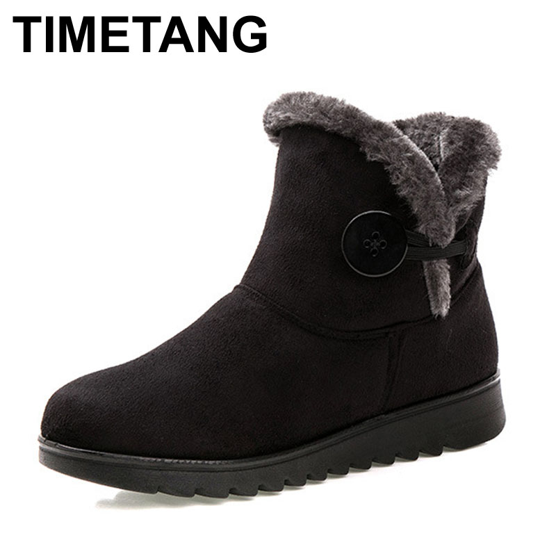 TIMETANG Hot Sale Shoes Women Boots Solid Slip-On Soft Cute Women Snow Boots Round Toe Flat with Winter Fur Ankle Boots(China (Mainland))