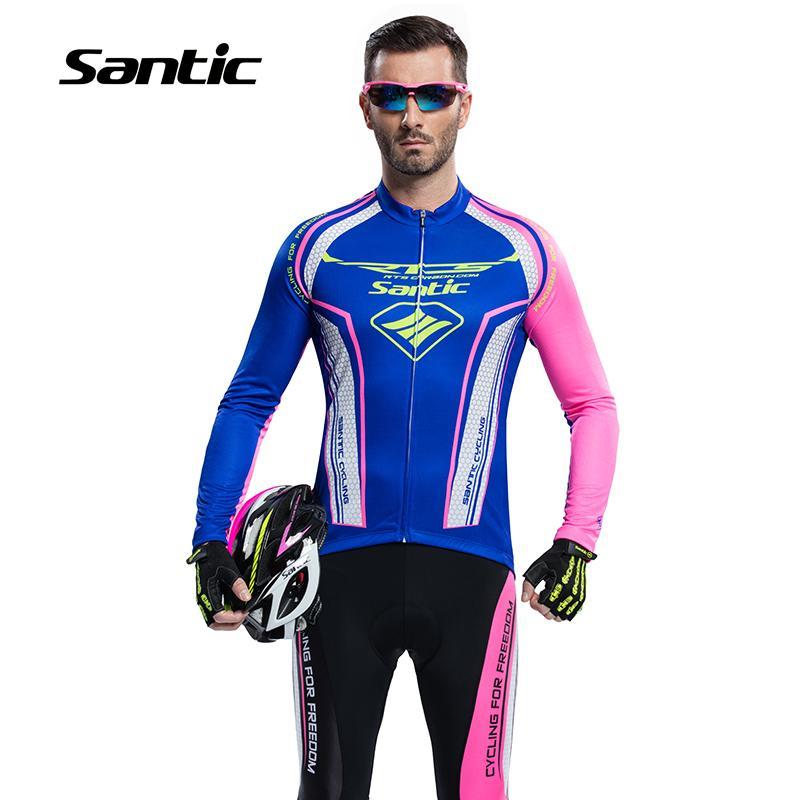 2016 New Santic Spring Long Sleeve Jersey Cycling Sets Men Suits Cycling Gel Pants Bike Boy Bule Cycling Clothing Sets M5CT054B<br><br>Aliexpress