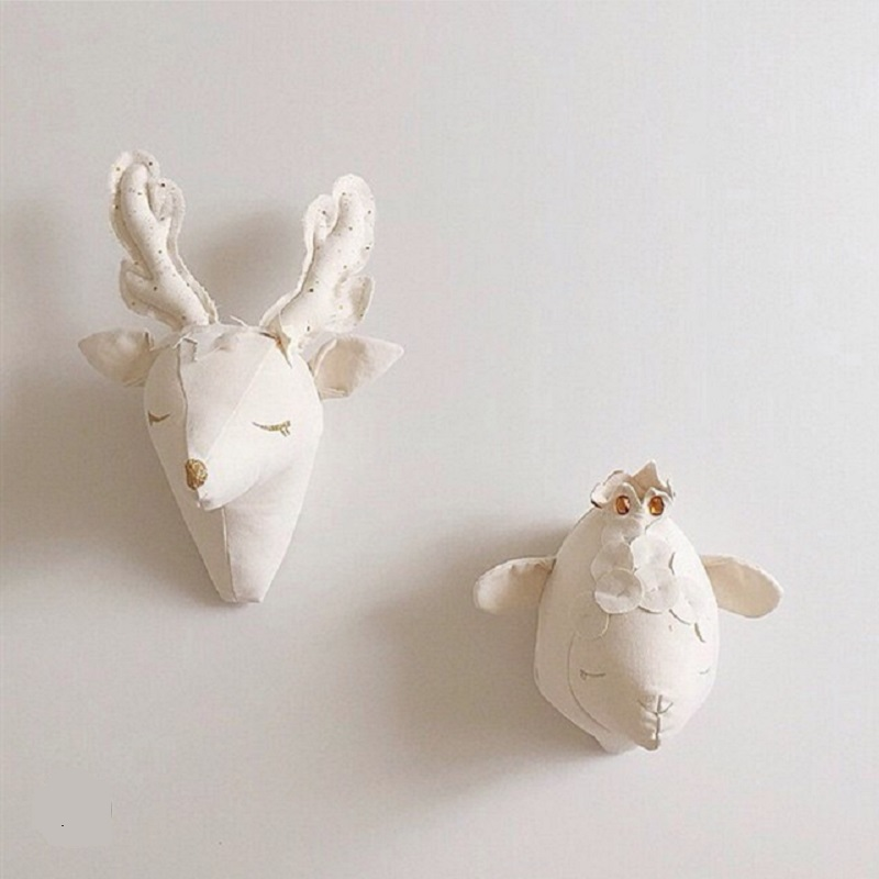 Free Shipping 3D Animals Deer Sheep Head Stuffed Plush Toys For Baby Bedroom Decoration Artwork Wall Hanging Dolls Gift For Kid(China (Mainland))