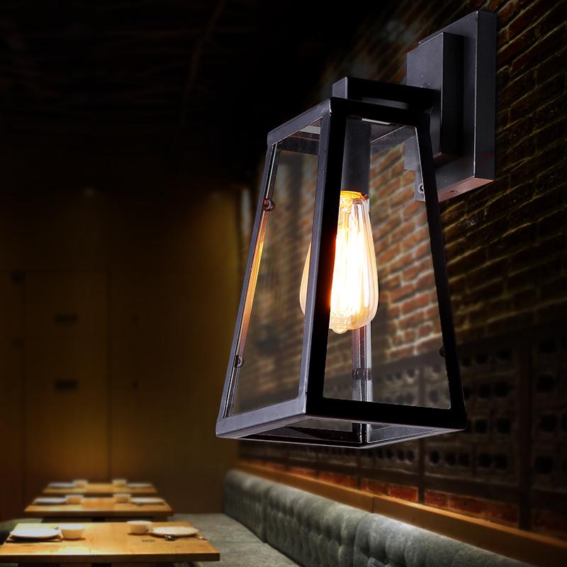 País da américa iluminação do jardim ferro forjado lâmpada de parede sala de estar minimalista restaurante vidro arandela caixa de transporte de ouro(China (Mainland))