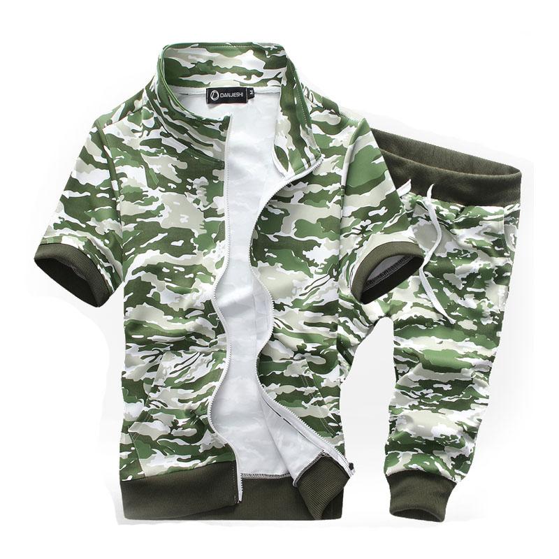2016 New Fashion Summer Short Sport Suit Men Camo Print Tracksuit Men Casual Slim Mens Sports Suit Set M-3XLОдежда и ак�е��уары<br><br><br>Aliexpress