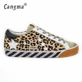CANGMA Original Italy Deluxe Brand Superstar Men Shoes Genuine Leather Fur Male Casual Leopard Shoes Scarpe
