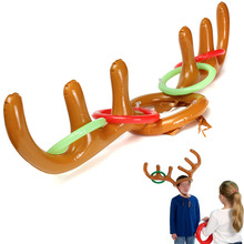 Hot Sale Children Kids Inflatable Toys Santa Funny Reindeer Antler Hat Ring Toss Christmas Holiday Party Game Supplies Toys(China (Mainland))